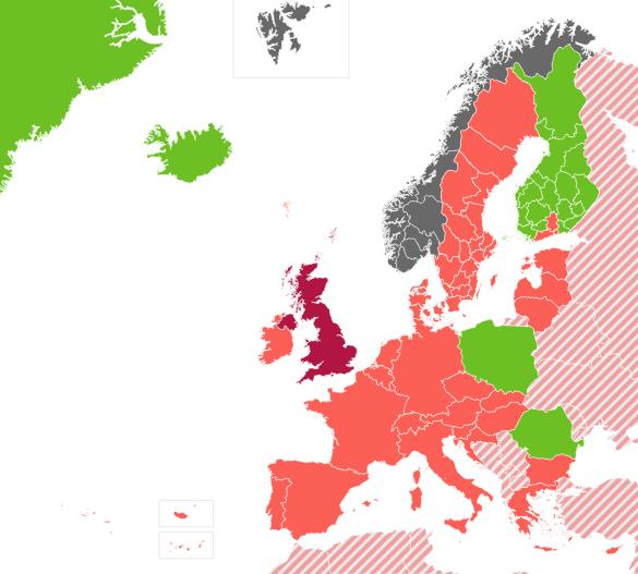 Carte de l'Institut norvégien de Santé publique du 21 juin 2021