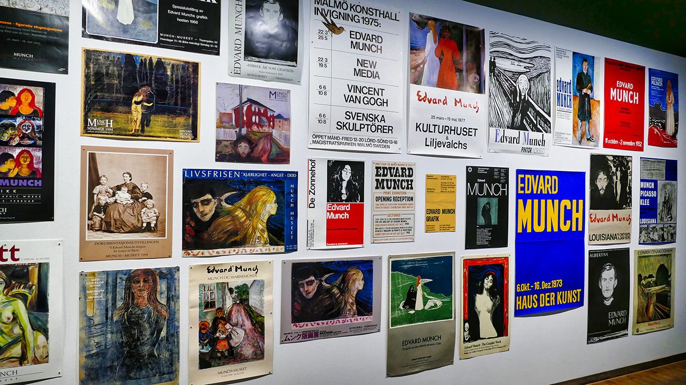 Affiches à l'exposition Munch Exit