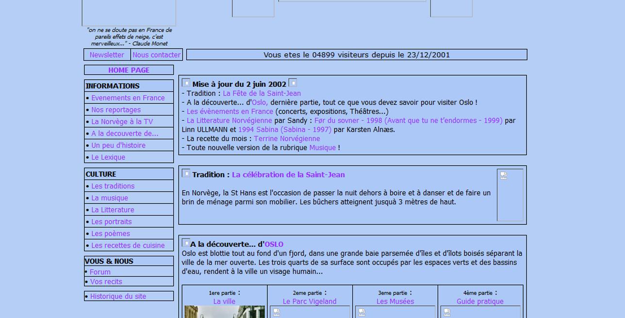 Site Norvege-fr.com en 2001