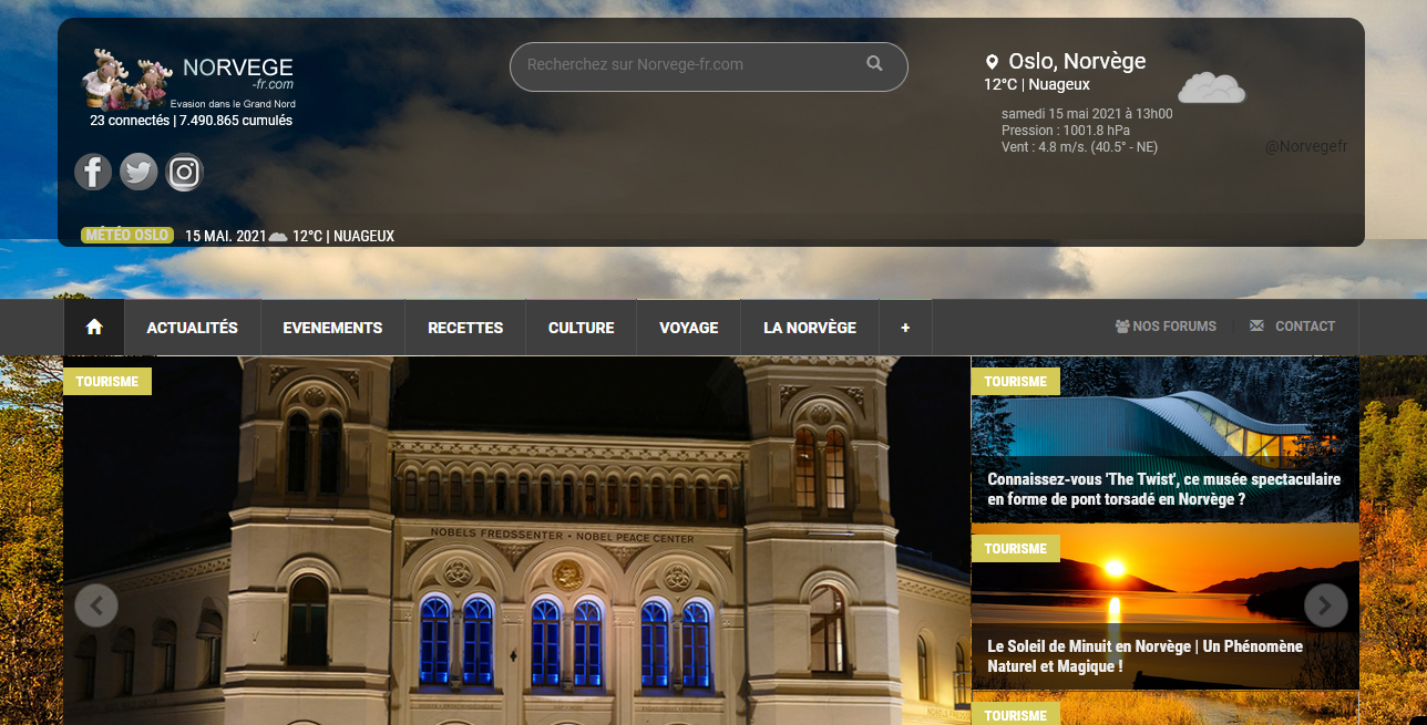 Site Norvege-fr.com en 2016