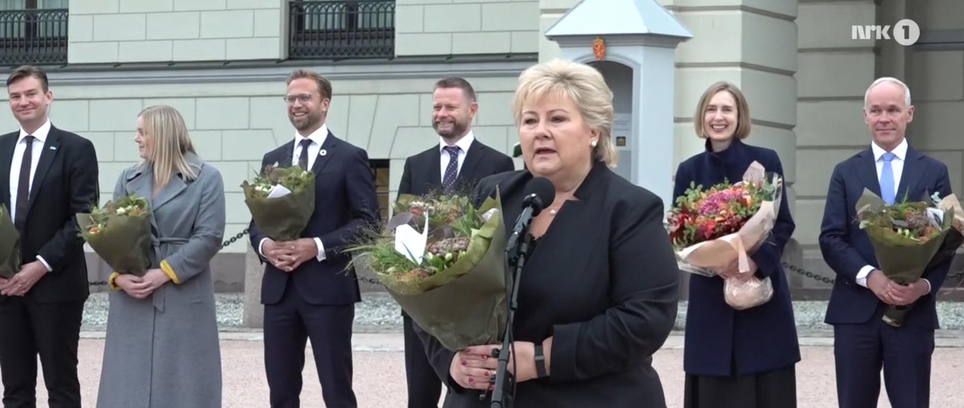 Remerciements d'Erna Solberg lors du départ du gouvernement